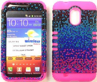 Heavy duty double impact hybrid Cover case Multi color Bling hard snap on over Pink soft silicone with Touch Pen, Zebra Earpiece, Winder and multi fiber cleaning cloth for SAMSUNG S2 Galaxy EPIC 4G TOUCH D710 R760 for SPRINT/BOOST MOBILE/VIRGIN MOBILE/US C