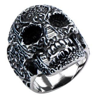 Inox Womens Stainless Steel Sovereign Black Oxidized Skull Ring Size 10 FR761 10 Jewelry