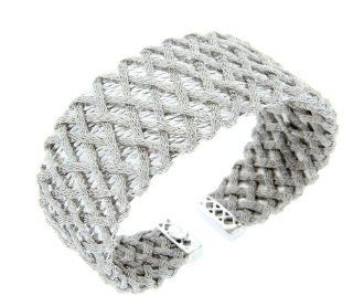 "Sterling Silver 25 Grams Wire Mesh Design Cuff Bracelet, 2.2"" Diameter At Rest Jewelry"