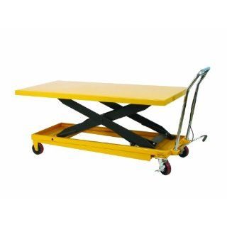 "Wesco 273261 Long Scissors Lift Table with Handle, Polyurethane Wheels, 1100 lbs Load Capacity, 38"" Height, 63"" Length x 32"" Width"