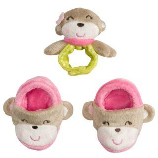 Carter's Girls 3 Piece Monkey Baby Booties and Rattle Set (0 6 Months)  Infant And Toddler Nightgowns  Baby