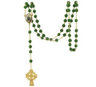 Rosary   Gold Toned Irish Celtic Cross with Green Glass Shamrock Beads and Enameled St. Patrick Medal Attached Celctic Rosary Beads Jewelry