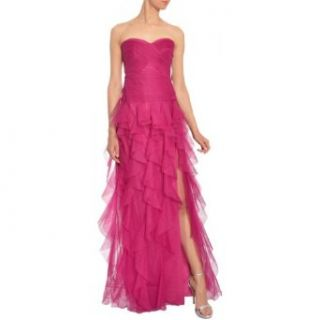 Ml Monique Lhuillier Pleated Strapless Ruffle Tulle Evening Gown Dress