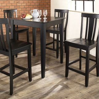 Crosley 5 Piece Counter Height Dining Set with Tapered Leg and Shield Back Stools   Indoor Bistro Sets