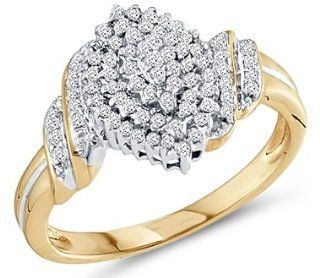 Diamond Cluster Ring 10k Yellow Gold Promise Band (1/4 Carat) Jewel Tie Jewelry