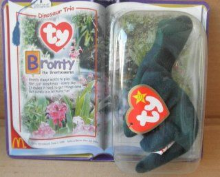 McDonalds TY Beanie Babies Bronty the Brontosaurus Stuffed Animal Plush Toy   7 inches long Toys & Games