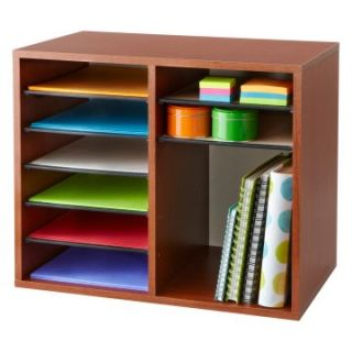 Safco Wood Adjustable Literature Organizer   12 Compartment   Office Desk Accessories