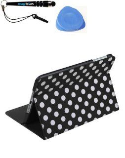 IMAGITOUCH(TM) 3 Item Combo APPLE iPad Mini White Polka Dots Black Frosted MyJacket (with Tray and Card Slot) (784) (Stylus pen, Pry Tool, Phone Cover) Cell Phones & Accessories