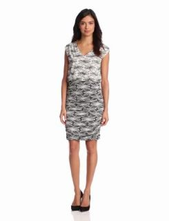 Adrianna Papell Women's Rouched Printed Jersey Dress, White/Black, 6