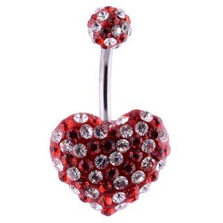 14G Surgical Steel Heart Belly ring Clear/Red Gemstone 5mm top crystal ball,Body Piercing Jewelry Swarovski CZ Banana Navel Belly Button Ring Jewelry