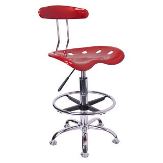 Vibrant Drafting Stool with Tractor Seat   Wine Red and Chrome   Drafting Chairs & Stools