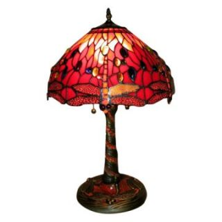 Tiffany Style Red Dragonfly Lamp with Mosaic Base   Table Lamps