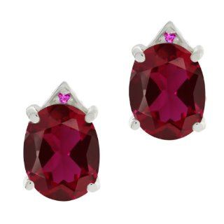 6.75 Ct Oval Red Created Ruby Pink Sapphire 18K White Gold Earrings Jewelry