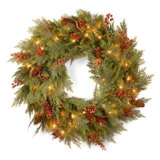 30 in. Decorative Collection Cedar Mixed Pine Pre Lit Christmas Wreath with Berries   Christmas Wreaths