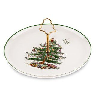 Spode Christmas Tree Cake Plate with Tree Handle Dessert Plates Kitchen & Dining