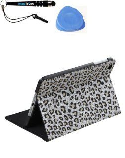 IMAGITOUCH(TM) 3 Item Combo APPLE iPad Mini White Leopard Skin MyJacket (with Tray and Card Slot) (791) (Stylus pen, Pry Tool, Phone Cover) Cell Phones & Accessories