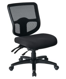 Office Star Ergonomic ProGrid Back Task Chair with Ratchet Back Height Adjustment and Dual Function Control   Armless   Desk Chairs