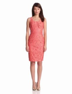 Jax Women's Sleeveless Lace Dress, Coral, 2