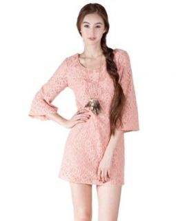 Flying Tomato Women's Floral Lace Shift Dress Medium Dusty Pink