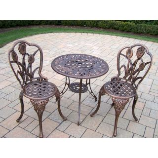 Oakland Living Tulip Cast Aluminum 3 Piece Bistro Set   Outdoor Bistro Sets