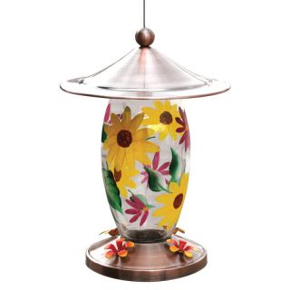 Friends Of Flight Haven 24 oz. Glass Floral Design Hummingbird Feeder   Bird Feeders