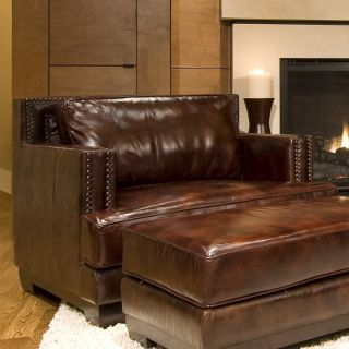 Davis Top Grain Leather Accent Chair in Saddle   Club Chairs