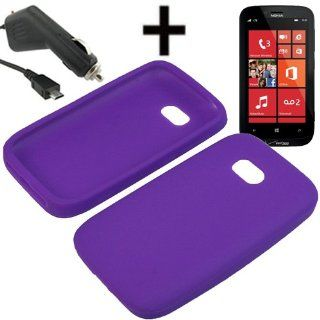 AM Silicone Sleeve Gel Cover Skin Case for Verizon Nokia Lumia 822 + Car Charger Purple Cell Phones & Accessories