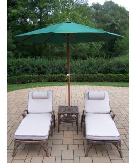 Oakland Living Mississippi Cast Aluminum Chaise Lounge Set with Umbrella and Stand   Conversation Patio Sets