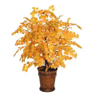 4 ft. Yellow Aspen Extra Full Tree/ Round Metal   Silk Plants