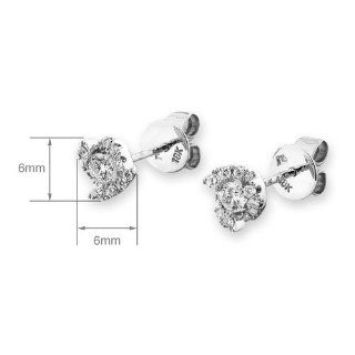 X1000Diamond 18K White Gold Whirl Shape Solitaire Diamond Stud Earring (0.28ct,G H Color,VS2 SI1 Clarity) X1000Diamond Jewelry
