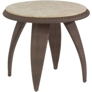 Whitecraft by Woodard Bali End Table with Stone Top   Patio Tables