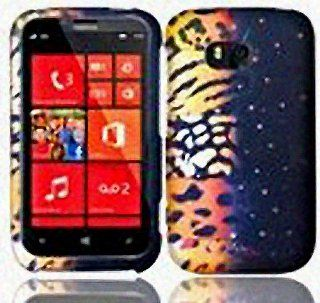 Gold Brown Leopard Animal Print Hard Cover Case for Nokia Lumia 822 Cell Phones & Accessories