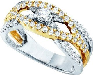 Ladies 14k White Yellow Gold .75ct Round Cut Diamond Engagement Wedding Bridal Band Ring Set Jewelry