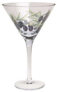 Wine Things Unlimited Tuscany Hand Painted Olive Martini Glasses, Set of 4 Kitchen & Dining
