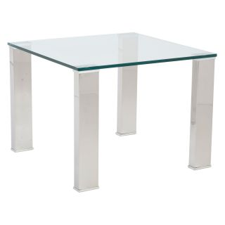 Euro Style Beth Side Table   Clear/Stainless Steel   End Tables