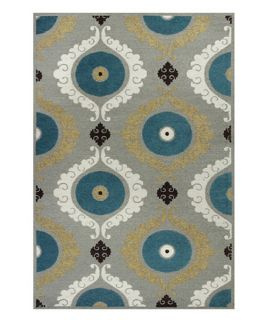KAS Rugs Mulberry 3400 Suzani Area Rug   Silver / Teal   Area Rugs