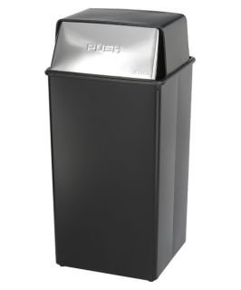 Safco Push Top Black and Chrome Metal 36 Gallon Commercial Trash Can
