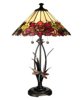 Dale Tiffany Floral with Dragonfly Tiffany Table Lamp   Table Lamps