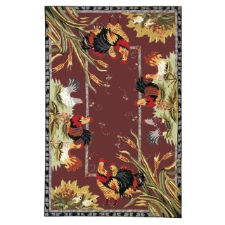 Safavieh Chelsea HK56C Roosters Area Rug   Red   Area Rugs
