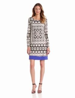 Nicole Miller Women's Border Snake Matte Jersey Dress, White/Black, Petite