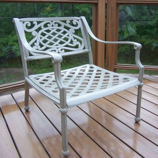 Oakland Living Tacoma Cast Aluminum Arm Chair   Beach Sand   Outdoor Dining Chairs