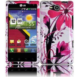VMG 3 Item Combo LG Lucid VS840 (Older, 1st Generation, Older Model) Hard Graphic Image Design Case Cover   Pink & White Floral Flower Hard 2 Pc Plastic Snap On Protective Case Cover + LCD Clear Screen Protector + Premium Car Charger For LG Lucid VS 84