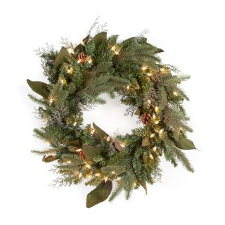24 in. Pre lit Clear Light Green River Spruce Wreath   Christmas Wreaths