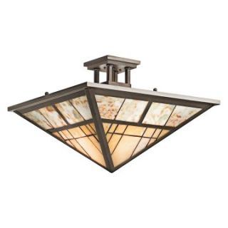 Kichler 65317 Prairie Ridge 2 Light Semi Flush Ceiling Light   14W in. Bronze   Tiffany Ceiling Lighting