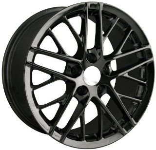 "Detroit 845 Corvette C6 ZR1 Black Machined Replica Wheel (19x10"") Automotive"