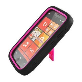 For Nokia Lumia 822 Atlas Hybrid Hard Rubber Case Pink Black With Stand