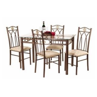 Crown 5 Piece Glass Top Dining Table Set   Dining Table Sets