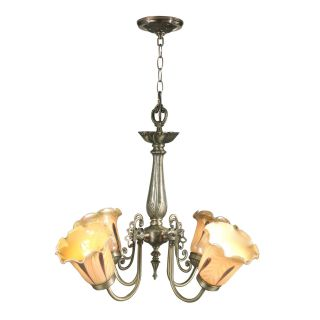 Dale Tiffany Columbus 4 Light Tulip Art Glass Fixture   22W in. Antique Brass   Tiffany Ceiling Lighting