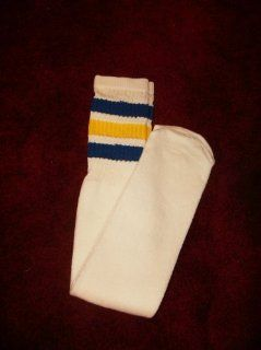 VINTAGE BLUE AND YELLOW STRIPE TUBE SOCKS I PAIR FRUIT LOOM  Other Products