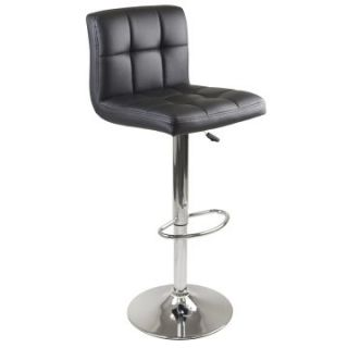 Winsome Stockholm Air Lift Swivel Stool with Square Grid Black Faux Leather   Bar Stools